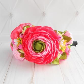 Ободок на голову с цветами Розовый обруч для фотосессии Украшение для волос на праздник Подарок