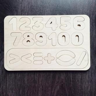Развивающая детская игра из натурального дерева «Учим цифры»