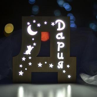 Ночник детский в форме буквы Д