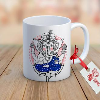 Ганеша (слоник удачи и благополучия) - чашка с иллюстрацией в индийском стиле