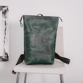 Рюкзак унисекс Shell из кожи Crazy Horse, шкіряний рюкзак