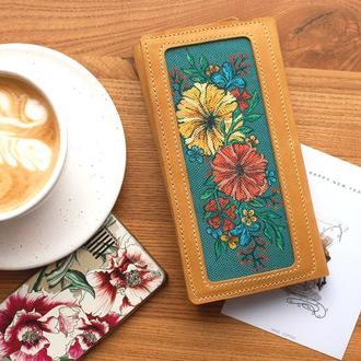 Женский кожаный кошелек на копках с росписью
