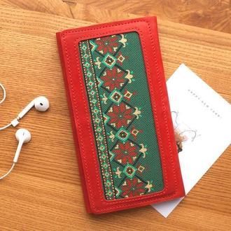Женский кожаный кошелек клатч с росписью