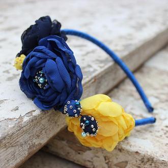 Сине-желтый ободок для волос с цветами ручной работы, подарок для девочки, украшение для волос