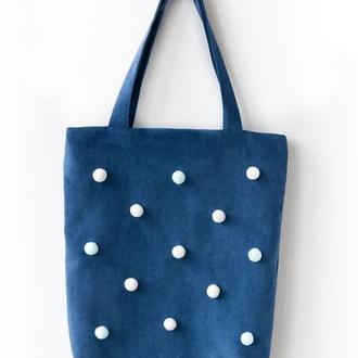Текстильная сумка с помпонами