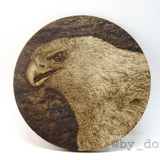 """Костер (подставка под чашку/кружку/бокал/стакан) """"Орел"""", выжигание, пирография по дереву"""