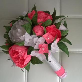Букет из бумажных цветов. Букет невесты. Дублер.