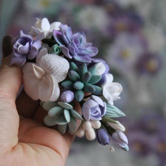 """Заколка с цветами """"Тропичекая симфония"""". Украшения для волос"""