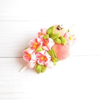 Заколка с розовыми цветами канзаши Украшение для волос с фруктами для женщины Подарок девушке