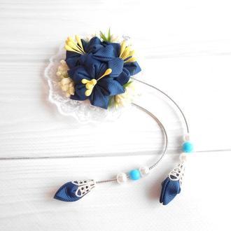 Синяя заколка с цветами канзаши на фотосессию Красивое нарядное украшение для волос Подарок девочке