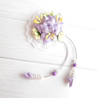 Сиреневая заколка с цветами канзаши на фотосессию Нарядное украшение для волос Подарок девочке