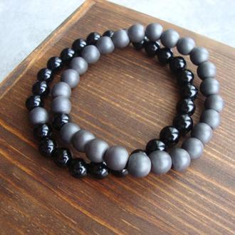 Парные браслеты из натурального камня в подарочной коробочке