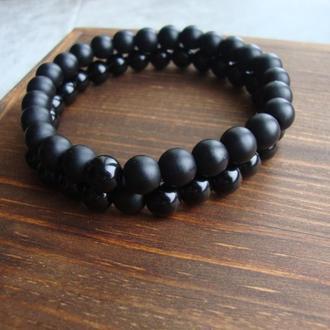 Мужской набор браслетов из агата и оникса