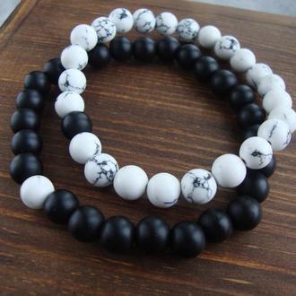 Парные браслеты из натурального камня Инь-Янь