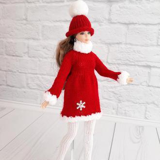 Одежда на Барби, комплект  Снежинка красный с белым, подарок девочке