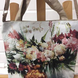 сумка с изображением картины на холсте «Цветы в золотой вазе» талантливого художника