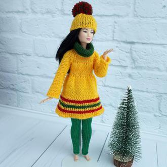 Одежда на Барби, зимний наряд на Барби желтый + зеленый, подарок девочке