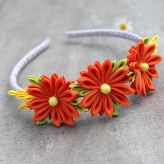 Оранжевый детский обруч, Канзаши ободок для волос ручной работы, Подарок для девочки,