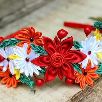Канзаши Красный обруч для волос  в украинском стиле Подарок для девушки Венок для волос