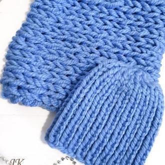 Комплект шапка и снуд из толстой шерстяной пряжи