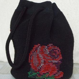 Сумочка из бисера, сумочка-мешок, черная сумочка