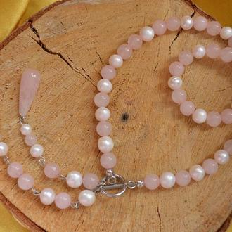 Кольє-чокер з перлів і рожевого кварцу 'Греммі'