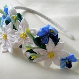 Синий с белым ободок для волос Цветочный венок для волос Украшения на голову Канзаши Подарок девочке