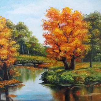 """Картина маслом , пейзаж """"Осень в парке"""""""