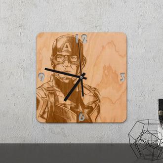 Настенные часы из древесины «Captain america»