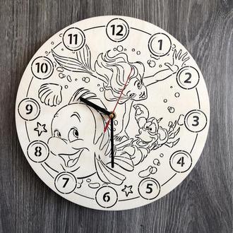 Бесшумные настенные часы в детскую «Русалочка Ариэль»