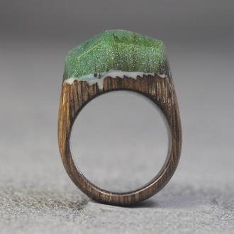 Кольцо дерево + смола
