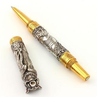 """Серебряная ручка """"Кабан"""" с бриллиантом. Деловой подарок."""