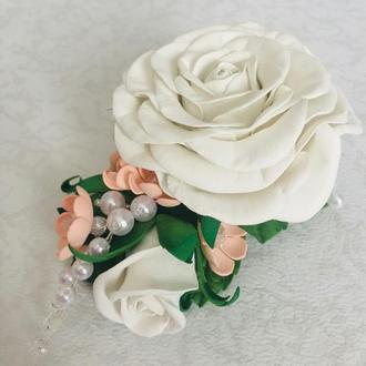 Заколка с розами из фоамірану, заколка в прическу