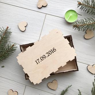 Свадебная коробочка из дерева с индивидуальной гравировкой