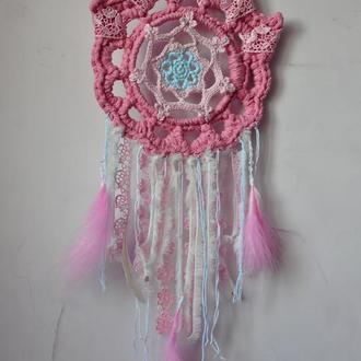 Ловец снов, оберег розовый маленький вязаный/ ловець снів, оберіг, розовий, маленький,  в'язаний
