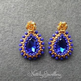 Сине-золотые серьги-гвоздики