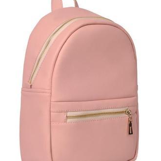 Модный вместительный женский рюкзак пудровый