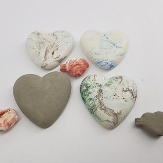 набор сердец из бетона (4шт.), в стиле Loft