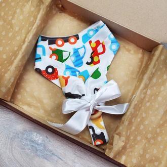 Подарочный набор для малыша от 0 до 3х лет - грызунок и слюнявчик с держателем