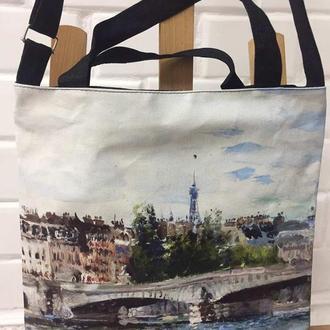 сумка с изображением репродукции картины «Парижский мост» талантливого художника