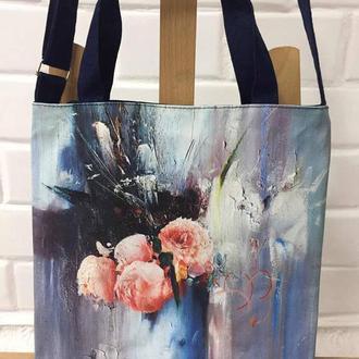 сумка с изображением репродукции картины «Розы в голубой вазе» талантливого художника