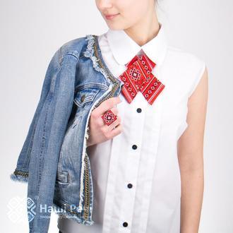 КРОСС-ГАЛСТУК С ВЫШИВКОЙ МАВКА, Оригинальный подарок для женщины, Сувенир из Украины