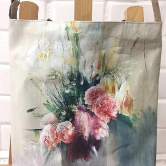 сумка с изображением репродукции картины «Цветы в вазе» талантливого художника
