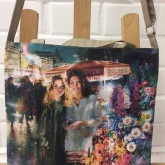 сумка с изображением картины на холсте «Девушки» талантливого художника