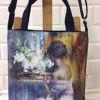 сумка с изображением картины на холсте «У зеркала» талантливого художника