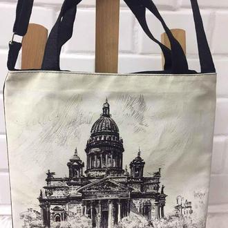 сумка с изображением картины на холсте «Исаакиевский собор» талантливого художника