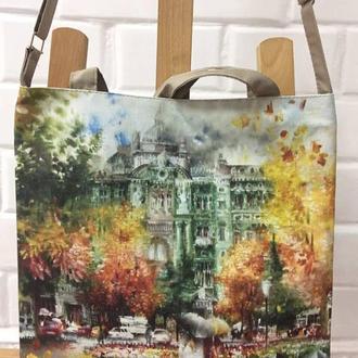 сумка с изображением картины на холсте «Соборная площадь» талантливого художника