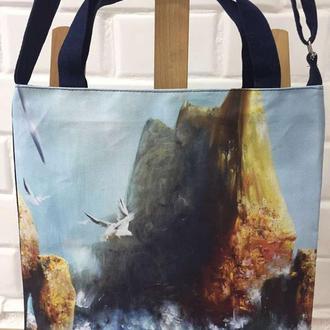 сумка с изображением картины на холсте «Черное море» талантливого художника