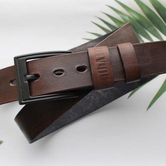 Мужской ремень кожаный коричневый