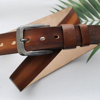 Необычный мужской кожаный ремень коричневый